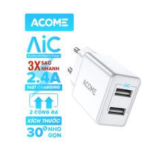 [Bảo Hành 12 Tháng] Sạc ACOME AC03 2 Cổng Ra Nguồn 2.4A Tương Thích Với Dòng Điện Thoại Android IOS – Hàng Chính Hãng