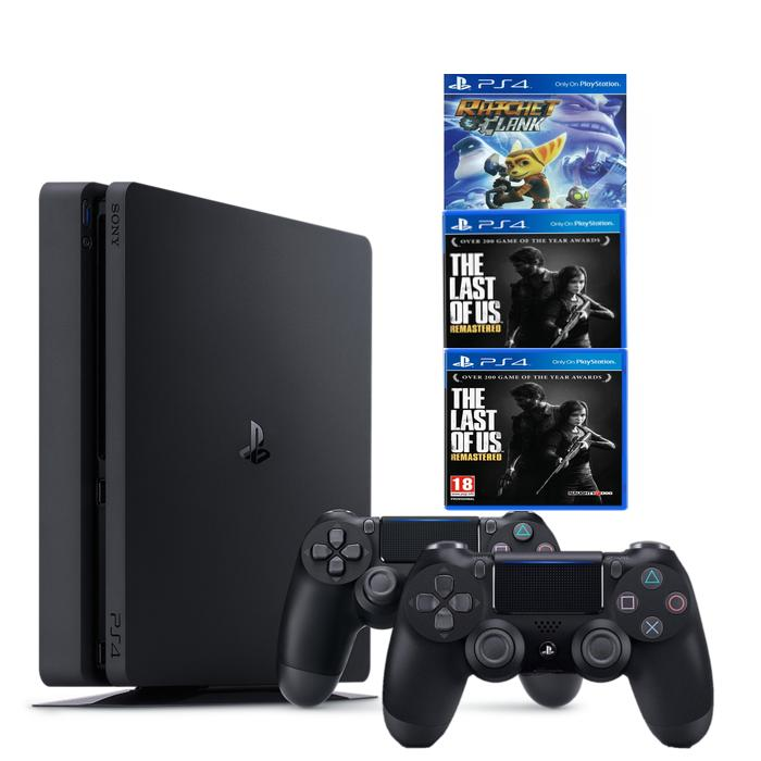 Combo Máy Chơi Game Ps4 Slim 1tb Model2218b Kèm 3 Game Uncharted 4 ,The Last Of Us ,Ratchet & Clank...