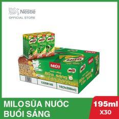 Thùng 30 hộp Nestlé MILO Uống Liền Bữa Sáng – 10 lốc x 3 hộp x 195ml