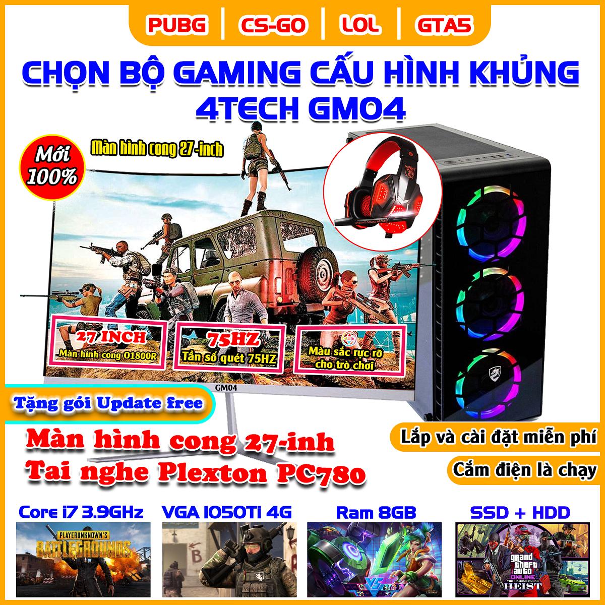 Máy tính Case PC Gaming Desktop cao cấp Core i7, Ram 8Gb, hai ổ cứng SSD + HDD, VGA 1050Ti, màn 22inch 4TechGM04 2019, thùng cây để bàn Full Led chiến mọi Game hay thế giới Maxsetting, Live Stream, thiết kế đồ họa, Edit Video, làm Youtube.