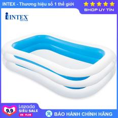 Bể bơi phao trẻ em khổng lồ INTEX 56483, hồ bơi phao cho bé 2 tầng hình chữ nhật, hút xả hơi tiện dụng, màu xanh trong suốt mát mẻ – Chính hãng INTEX, Bảo hành 12 tháng