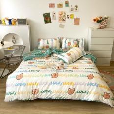 Bộ chăn ga gối Cotton PL CỪU TRẮNG, set 4 món gồm vỏ chăn, ga trải giường, đôi vỏ gối nằm – EmmiBedding Store