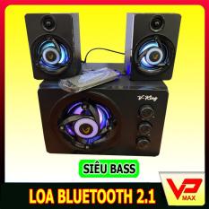 Loa bluetooth Bluetooth Vking 2.1 bass mạnh có đèn led dùng được máy tính laptop