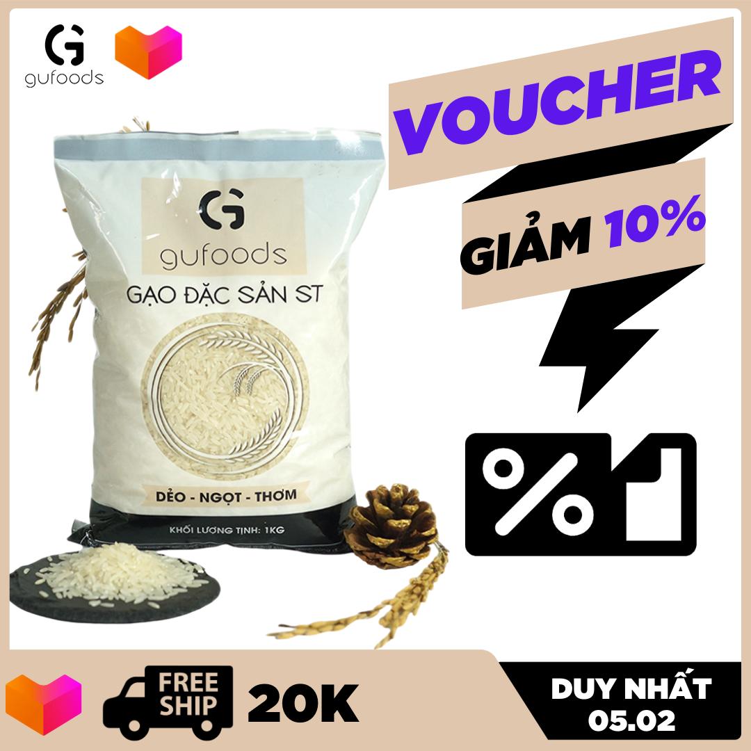 [TOP GẠO NGON NHẤT THẾ GIỚI] Gạo ngon đặc sản ST24 GUfoods 1kg dẻo ngọt thơm – đồ ăn – thực phẩm