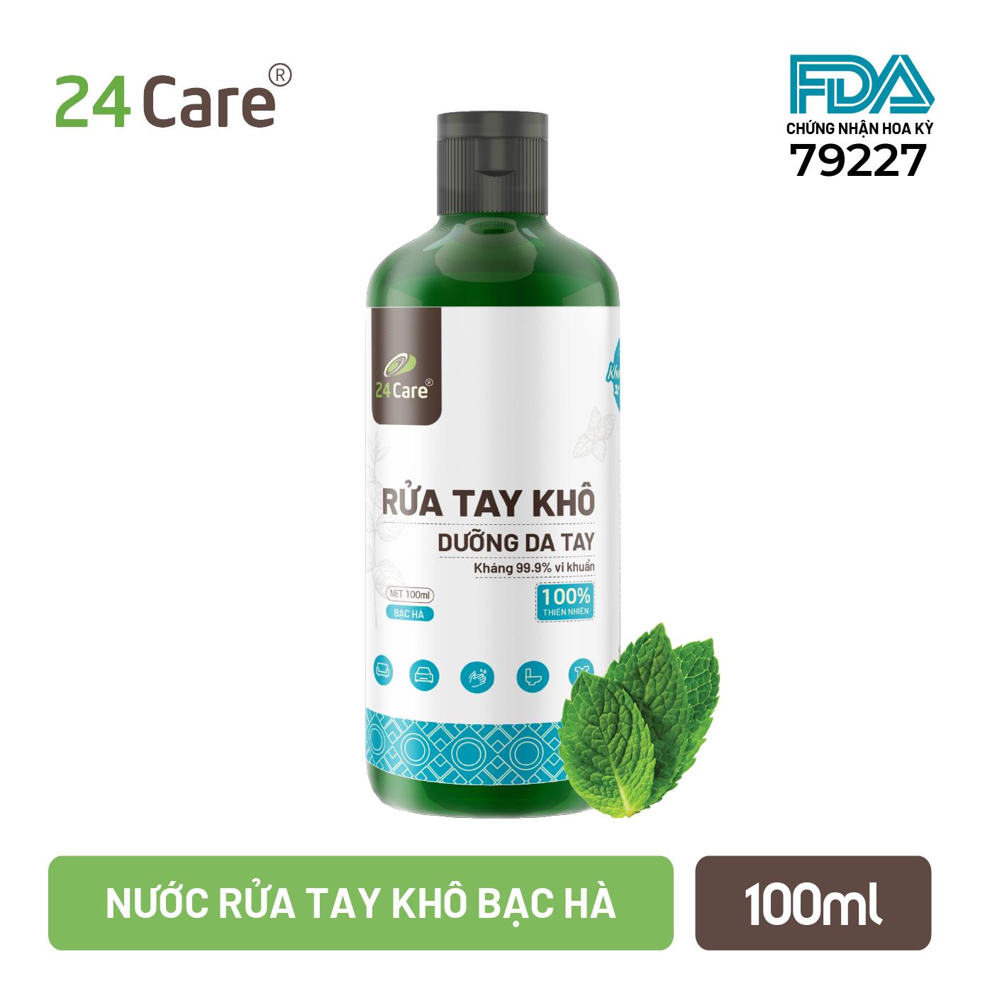 [FDA Approved] Nước rửa tay khô tinh dầu Bạc Hà 24Care – có kiểm định diệt khuẩn 99,9% – ĐẠT TIÊU CHUẨN FDA HOA KỲ