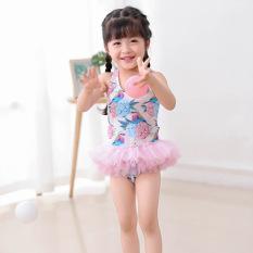 Đồ bơi bé gái liền thân bikini zen lưới xếp chân váy siêu dễ thương