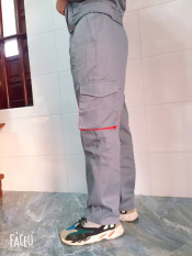 Quần kaki túi hộp nam nữ bảo hộ lao động loại dày SHUNI khóa kéo, cạp có chun bên hông phù hợp công nhân kỹ thuật, thợ cơ khí, sửa chữa, lắp ráp, xây dựng, hóa dầu, sơn