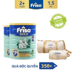 [Freeship toàn quốc] Bộ 2 lon sữa bột Friso Gold 4 1.5kg – Tặng Bộ túi Du lịch Mẹ – Bé trị giá 350K – HSD 09/2022