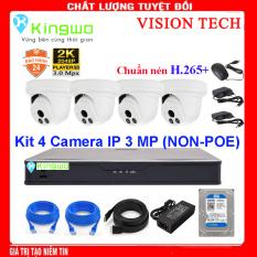 Bộ KIT 4 camera IP (4 Dome) 3.0MP KingWo (NON-POE)Có ổ cứng 500G,mắt KIM LOẠI chống nước-Bảo hành 2 năm 1 đổi 1-Tặng 40m dây mạng