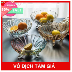 Bát thủy tinh đĩa thủy tinh tô thủy tinh bát thả hoa 3 chân pha lê cao cấp tinh tế đựng hoa quả trái cây bánh kẹo