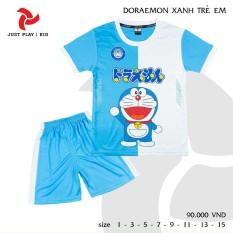 Bộ quần áo Doremon xanh kute cho bé trai và bé gái – vải thun lạnh thoáng mát