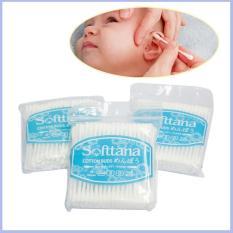 Bông vệ sinh tai mũi Softtana cho bé (Gói 80 que bông) siêu thấm mềm mại SHOPMEBEE