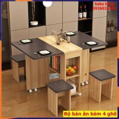 Bàn ăn thông minh tiết kiệm diện tích, có bánh xe, có thể gấp gọn [Kèm 4 Ghế] chất liệu gỗ MDF cao cấp