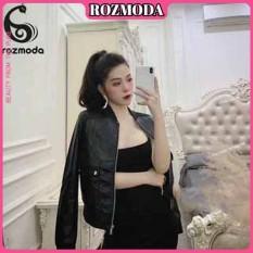 Áo khoác da bomber đen dành cho nữ Rozmoda AK004
