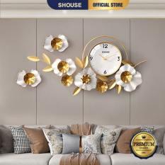 Đồng Hồ Treo Tường Trang Trí Decor DK quartz hoa mai vàng nội thất phòng khách cỡ lớn hiện đại