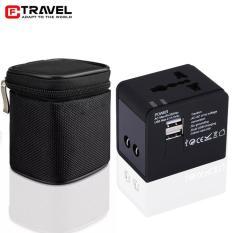 Adapter chuyển ổ cắm du lịch 2 cổng USB 2.1A túi kéo CF-Travel