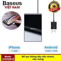 Sạc không dây siêu mỏng sạc siêu nhanh công xuất 15W BASEUS mỏng 0,3cm gắn với cáp sạc USB dài 1m phù hợp cho iphone Xs Max Apple / Samsung / Huawei /Xiaomi