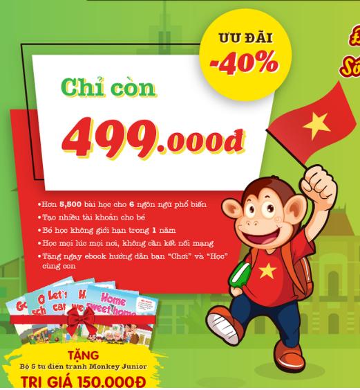 Monkey Junior – Gói 1 Năm – Tặng Bộ FlashCard