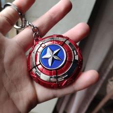Mô hình thép Khiên cap xoay được ngôi sao ở giữa như spinner kiêm móc khóa Captain America Marvel