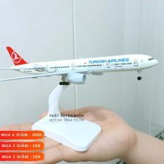 Mô hình máy bay tĩnh Airbus A380 Turkish Airline ( 20cm + Đế chưng bày + Bánh xe) Hợp kim sáng – Bộ sưu tập