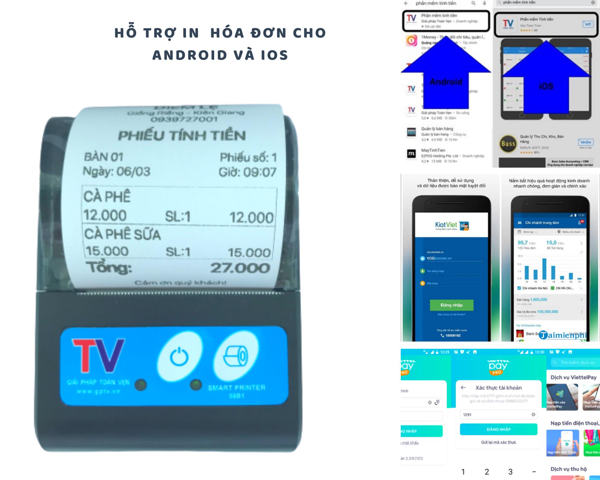 Máy in hóa đơn bluetooth 58mm cho Android và iphone in Viettel Pay Pro, KiotViet, goviet, grabfood