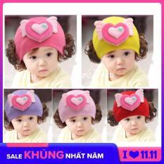Mũ len trùm đầu với 2 chùm tóc giả đáng yêu cho bé gái 0-36th – KAKASHOP