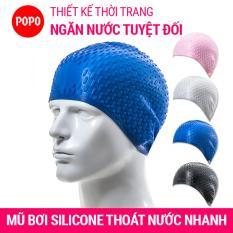 Nón bơi mũ bơi có nốt sần thoát nước nhanh POPO CA32 chất liệu cao cấp cho người lớn, nam, nữ và trẻ em trên 8 tuổi