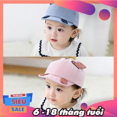 Mũ nón cho bé từ 6-18 tháng, mũ lưỡi trai cho bé gái, bé trai thiết kế mèo thêu dễ thương cho bé trai, bé gái thiết kế tai nhọn đáng yêu Hot