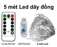 Dây đèn LED dây đồng 5m có Remote điều khiển, Dây đèn chớp nháy dùng trang trí nhà quán cafe, tiệc Giáng Sinh, Sinh nhật hoặc đón tết năm mới Kyto Shop