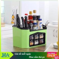 [chọn màu] Kệ đựng gia vị nhà bếp đa năng 6 ngăn có khay cắm dao, kệ để gia vị, kệ để đồ nhà bếp GDHIEU73