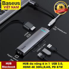 HUB đa năng Baseus Baseus 6 in 1 USB C HUB HDMI RJ Adapter USB Loại C để USB 3.0 HDMI RJ45 đối với MacBook Pro HUB Splitter đối với Huawei matebook