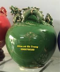 Bình hút tài lộc gốm sứ Bát Tràng cao cấp vẽ vàng 24k