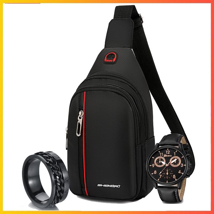 [COMBO] Túi đeo chéo, đồng hồ, nhẫn