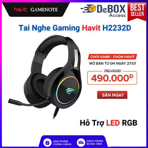 Tai Nghe Gaming Havit H2232D, Hỗ Trợ LED RGB, Tương Thích Với PC/ PS4/ XBOX/ Điện Thoại/ Máy Tính Bảng – Hàng Chính Hãng BH 12 Tháng