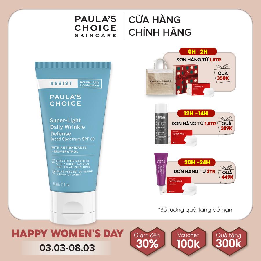 Kem chống nắng dưỡng ẩm đa năng siêu nhẹ không bết dính Paula's Choice Resist Super – Light Daily Wrinkle Defence SPF 30-7760