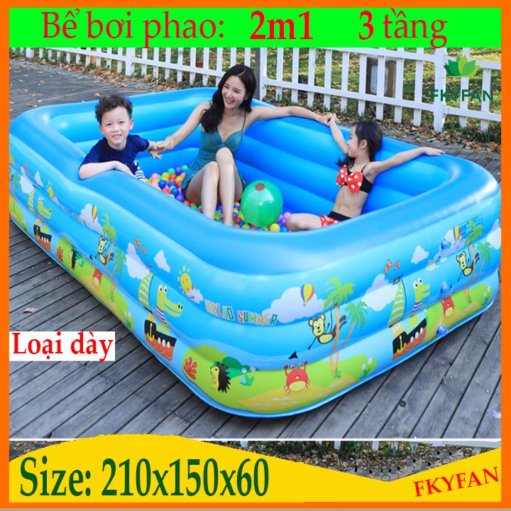 [ XẢ GẤP 2 NGÀY CUỐI TUẦN ] Bể Bơi Trẻ Em 2m1 Hồ Bơi Trong Nhà, bể bơi cho bé Mua Ngay Bể Phao Bơi 3 Tầng Cao Cấp 2020,Chất Liệu Dày Dặn,Kiểu Dáng Đẹp,Độ Bền Cao – BB2M1
