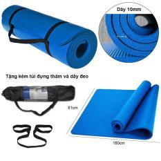 Thảm tập Yoga loại cao cấp siêu bền, dày 10mm TPE (Tặng kèm túi đựng và dây đeo thảm) – Màu xanh
