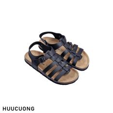 Sandal HuuCuong chiến binh đen đế trấu