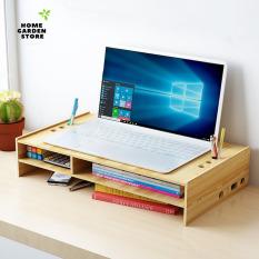 }Kệ để màn hình máy tính laptop cá nhân Z03 – Tặng kèm giá đỡ điện thoại gỗ và gương mini siêu cute