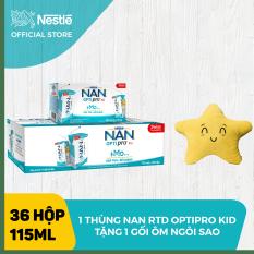 Thùng 36 hộp Sữa bột pha sẵn Nestle NAN OPTIPRO 4 RTD cho trẻ trên 2 tuổi RTD (6x115ml) + Tặng 1 gối bông sao biển