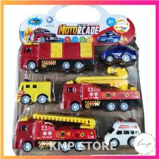 Vỉ đồ chơi xe công trình cứu hỏa cảnh sát cấp cứu 6 chiếc – KMP STORE