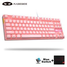 MageGee MK-STAR Cơ Chơi Game Bàn Phím Màu Xanh Chuyển 87 Phím Chống Bóng Mờ LED Backlit USB Có Dây Cô Gái Màu Hồng Bàn Phím Máy Tính Cho Windows PC Máy Tính Xách Tay Gamer