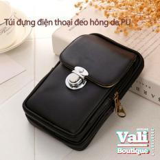 Túi đựng điện thoại đeo ngang hông da PU – Túi đeo hông giá rẻ – Túi đeo ngang hông có nút đóng mở dành cho nam