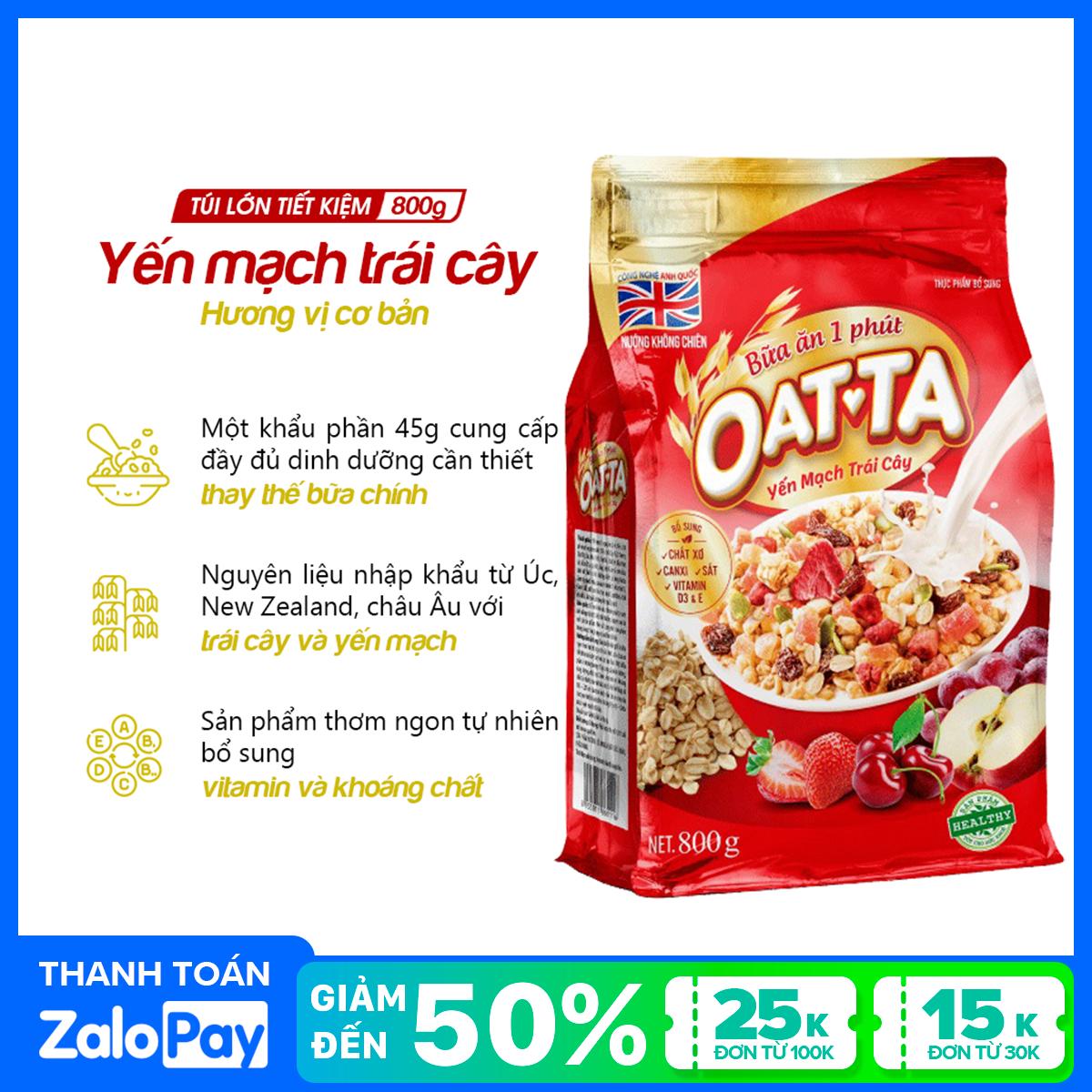 Yến mạch trái cây Oatta túi 800g