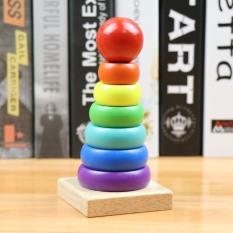 Đồ chơi trẻ em thông minh bộ xếp tháp cầu vồng size nhỏ bằng gỗ cao cấp nhiều màu sắc hấp dẫn cho bé từ 1 tuổi trở lên phát triển trí thông minh và tư duy logic
