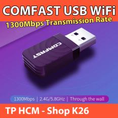 USB Thu WiFi COMFAST CF-812AC 1300Mbps Có Hỗ Trợ 5Ghz