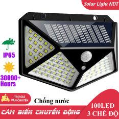 Đèn Năng Lượng Mặt Trời 100 LED Cảm Biến Chuyển Động 3 Chế Độ Tự Động Sáng Chống Nước