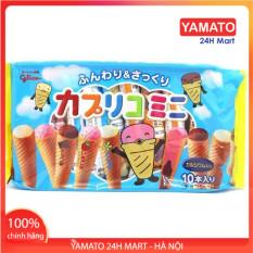 Bánh Ăn Dặm Ốc Quế Glico Nhật Bản Nhân Kem Gói 10 Chiếc Cho Bé 1 Tuổi, Bánh Bổ Sung Dinh Dưỡng Cho Bé, Các Vitamin Cho Bé