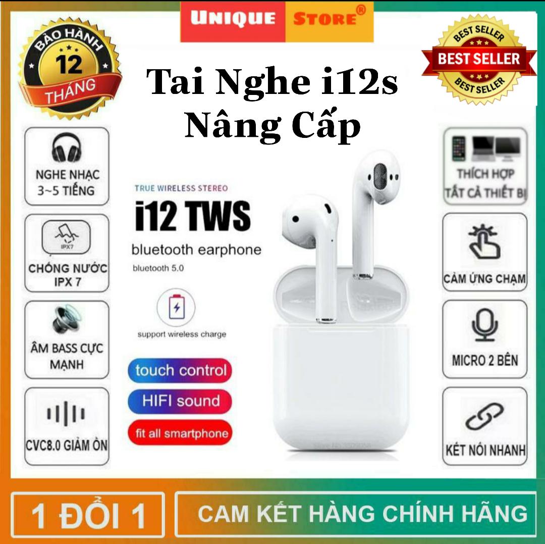 Tai Nghe Bluetooth i12 Bản Plus Âm Thanh v5.0 Nút Cảm Ứng, Tai Nghe Không Dây, Tai Nghe Bluetooth Hỗ Trợ Mọi Điện Thoại Cảm Ứng, Tai nghe cho mọi dòng máy