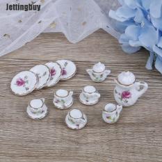 Bộ tách trà thu nhỏ Jettingbuy tỷ lệ 1:12 gồm 15 món bằng gốm sứ, trang trí nội thất nhà búp bê – INTL